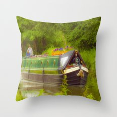 Canal Boat Painted Throw Pillow