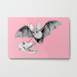 Skull Bat Pink Metal Print