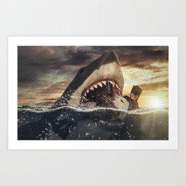Bruce vs. Bruce / Jaws Art Print