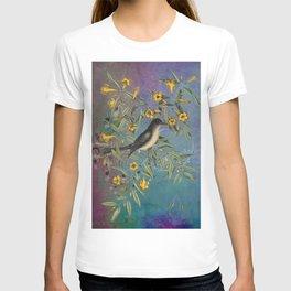 Flycatcher with Carolina Jasmine, Vintage Natural History and Botanical T-shirt