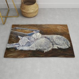 Silent Night (sheep and empty manger) Rug
