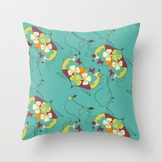 Flower hearts pattern Throw Pillow