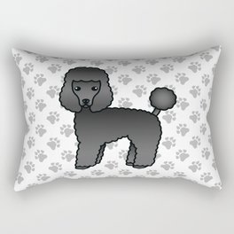Black Toy Poodle Dog Cute Cartoon Illustration Rectangular Pillow