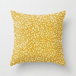 Sloane Golden dots - yellow dots, painted dots, artsy mustard yellow coordinate Throw Pillow