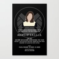 agents of shield Canvas Prints featuring Agents of S.H.I.E.L.D. - Simmons by MacGuffin Designs
