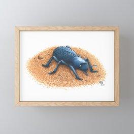 Blue Death Feigning Beetle Framed Mini Art Print