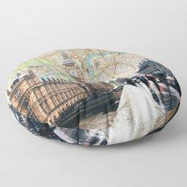 Map of London, England Skyline of Big Ben and Parliament Floor Pillow