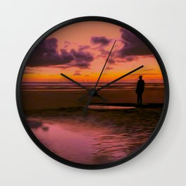Another place at sunset Wall Clock