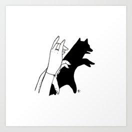 Bear shadow Art Print