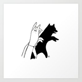 Bear shadow Art Print