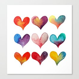 color of hearts Canvas Print