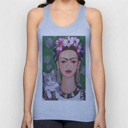 Frida cat lover closer Unisex Tank Top