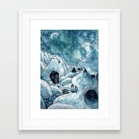 moomin Framed Art Prints featuring Winter in The Moomin Valley by stelari
