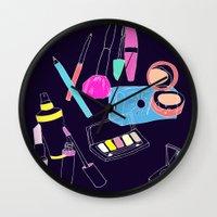makeup Wall Clocks featuring Retro Makeup by minniemorrisart
