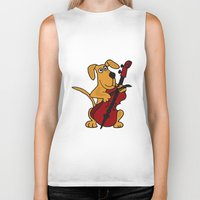 cello Biker Tanks featuring FunnyBrown Dog Playing Red Cello Artwork by Nature Smiles