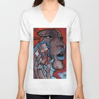 murakami V-neck T-shirts featuring China girl by Joseph Walrave