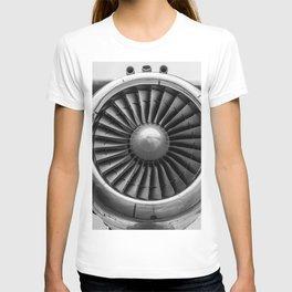 Vintage Airplane Turbine Engine Black and White Photography / black and white photographs T-shirt