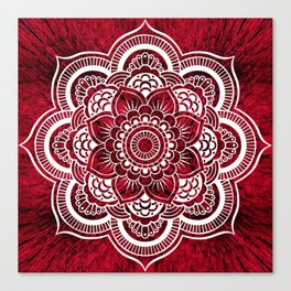 Mandala Red Colorburst Canvas Print