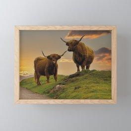 Highland Cows At Sunset Framed Mini Art Print
