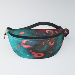 Red Turquoise Textured Abstract Fanny Pack