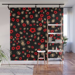 Romantic Leopard Print with Red Flowers on Black Wall Mural