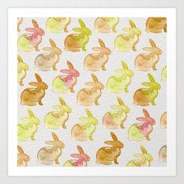 Watercolor Bunnies 1G by Kathy Morton Stanion Art Print