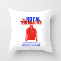 royal tenenbaums Throw Pillows featuring The Royal Tenenbaums Movie Poster by FunnyFaceArt