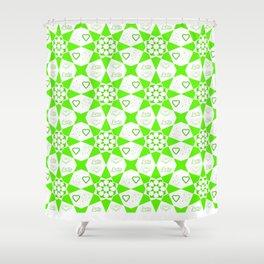 Bright Green Geometric Pattern with Love Typography and Hearts Shower Curtain