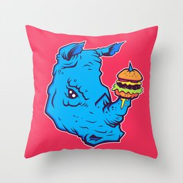 Rhino With A Cheeseburger Throw Pillow