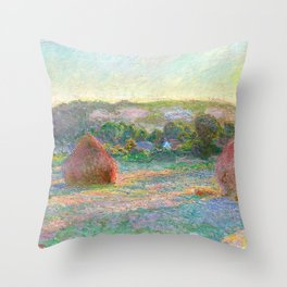 Stacks of Wheat (End of Summer) - Claude Monet Throw Pillow