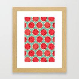 watermelon polka mint Framed Art Print