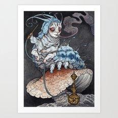 Absolem the Blue Caterpillar art print Art Print