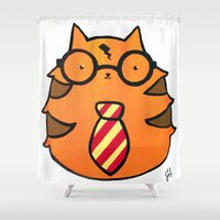 potter Shower Curtains featuring Kitty Potter  by JessicaAndersonArt