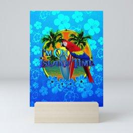 Island Time Surfing Blue Tropical Flowers Mini Art Print
