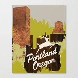 White Stag Sign, Portland Oregon Canvas Print