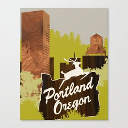 White Stag Sign, Portland Oregon Canvas Print