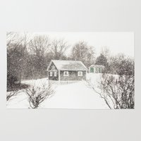 cape cod Area & Throw Rugs featuring Cape Cod Snowstorm by ELIZABETH THOMAS Photography of Cape Cod