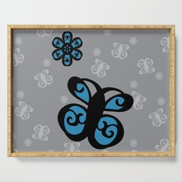 Swirly Butterfly and Flower Design Black, Grey, Blue Color Splash Serving Tray