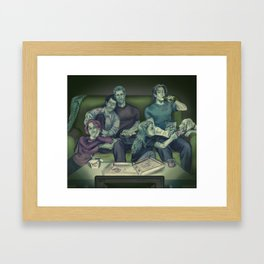 Movie night at the bunker Framed Art Print