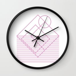 Goemetric sunset in pink Wall Clock