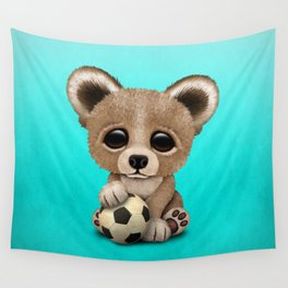Cute Baby Bear With Football Soccer Ball Wall Tapestry