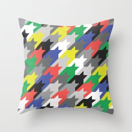 Multicolor houndstooth Throw Pillow