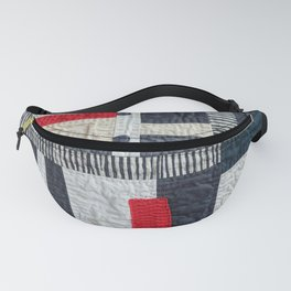 Black, White and Red 'Antique-Look' Art Quilt Design Fanny Pack