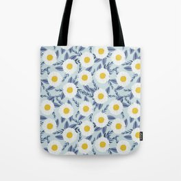 daisy flower white blue navy gold watercolor painting bohemian gardener gift unique floral pattern Tote Bag