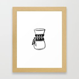 Chemex coffee maker linocut black and white kitchen food restaurant cafe art Framed Art Print