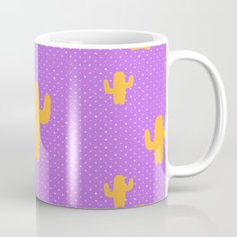 Mustard Cactus White Poka Dots in Purple Background Pattern Coffee Mug