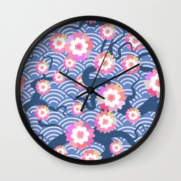 Sakura flowers Nature background with blossom branch of pink flowers. Cherry tree branches japanese Wall Clock