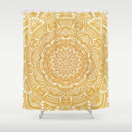Golden Mustard Yellow Orange Ethnic Mandala Detailed Shower Curtain