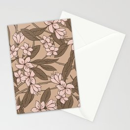 Sakura Branch Pattern - Pale Dogwood + Hazelnut Stationery Cards
