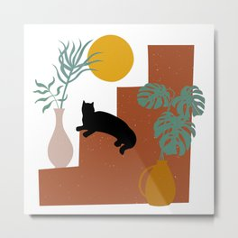 Mediterranean Steps, Plants, Sun and Moon, Cat Art, Geometric Prints Metal Print